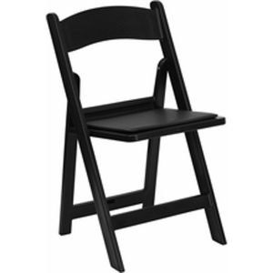 Black Resin Folding Chair with Black Vinyl Padded Seat