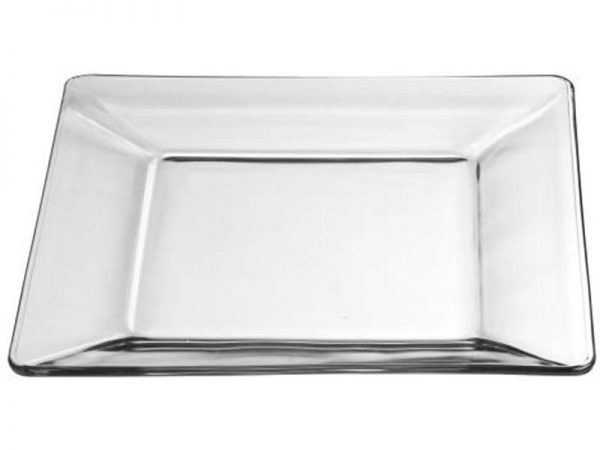 Tempo Square Glass Dinner Plate, 10 Inch Clear
