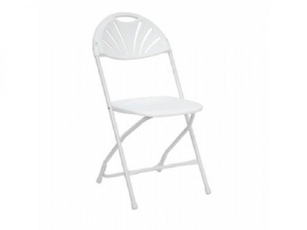White Plastic Fan Back Chair