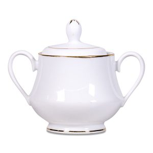 White Sugar Bowl with Gold Band 0P3A7751