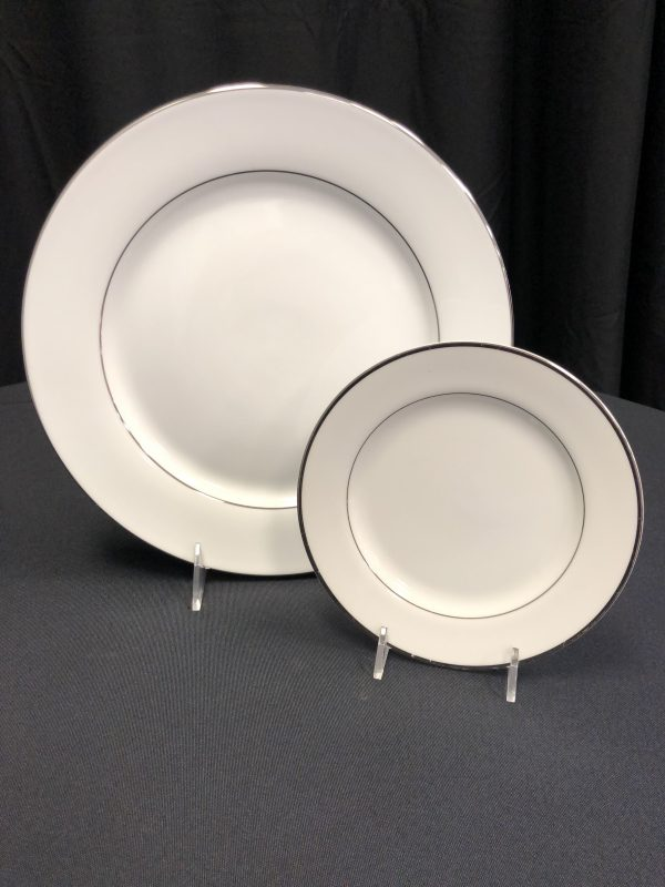 10 and 6 inch SIlver and White plate
