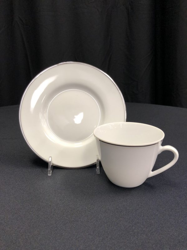 White and Silver Cup and Saucer