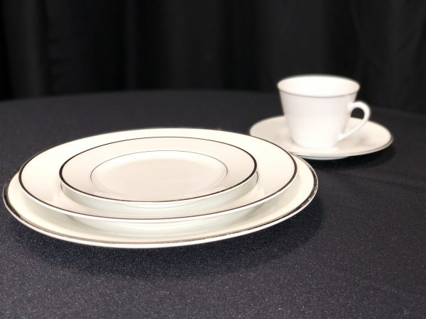 white and silver plate set